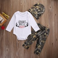 Wholesale Hunting Clothing Wholesale - Wholesale- 2016 Fashion Baby Winter Clothes Newborn Baby Girl Boy Clothes Crawl Walk Hunt Tops Romper +Pants Trousers Hat Outfits Set 3PCS