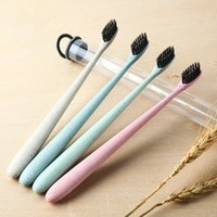 Wholesale Wholesale Kids Fashion Korea - Free Shipping Korea Fashion Portable Travel Toothbrush Wheat Soft Bamboo Charcoal Toothbrush Tongue Cleaner For Kids And Adults