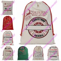 Wholesale Cheap Christmas Reindeer - DHL-Cheap New Christmas Large Canvas Monogrammable Santa Claus Drawstring Bag With Reindeers Monogramable Christmas Gifts Sack Bags 20 style
