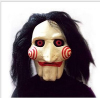 Wholesale horror saw face - Saw Movie Jigsaw Puppet Mask Party Masks Latex Rubber Mask Full Mask Head Latex Creepy Scary mask