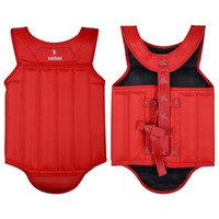 Wholesale Breast Protectors - Wholesale- 2016 Red size S-L Oxford Sanda chest guards Taekwondo Chest Protector Breast Pad Armor Gear Professional Training Sport Pad