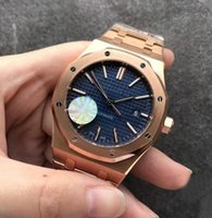 Luxury JF Factory V3 Mens Automatic Cal 3120 Reloj Hombres Rose Gold Pulsera Esfera Azul 15400 Royal Sapphire Crystal Butterfly Buckle Relojes