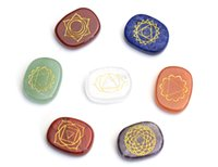 Wholesale 7 Chakra Stone Reiki Healing Crystal With Engraved Chakra Symbols Holistic Balancing Polished Palm Stones with Free Pouch