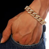 18K Gold Plated Hip Hop Bling de alta qualidade All Drill Chain Cuban Bracelet for Men and Women Christmas Gift