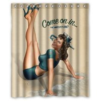 Wholesale Retro Fabric Curtains - Customs 36 48 60 66 72 80 (W) x 72 (H) Inch Shower Curtain RETRO PIN UP GIRL-COME ON IN Polyester Fabric Shower Curtain
