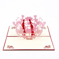 Wholesale Cards For Valentines - 3D Laser cut Gift & Greeting Card With Lover & Heart for Valentine Day Sweet Loves' Gift Free Shipping