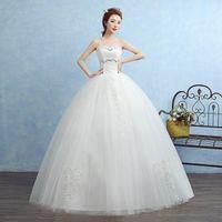Wholesale Simple Wedding Dresses Korean Style - Vestidos De Novias 2017 The Bridal Elegant White Sweet Strapless Simple Ball Gown Classic Embroidery Korean Style Wedding Dress