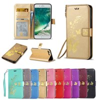 Wholesale Butterfly Pouch Iphone - Luxury Flip Cover Bronzing Butterflies PU Leather Wallet Card Slots Protection Mobile Phone Bag Case For iPhone 7 7 Plus 6s Plus BB0280A