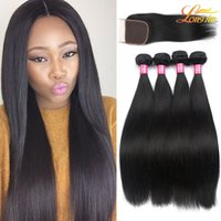 Wholesale Cheap Indian Closures - Cheap Brazilian Lace Closure With Bundles Unprocessed Peruvian Indian Malaysian Virgin Human Straight Hair Weave Natural Color Double Weft