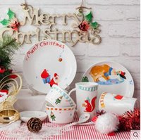Wholesale Eating Dishes - Jingdezhen ceramic Dish set lovely cartoon Christmas gift two people eating lovers bowl plate dinnerware set Christmas Lovers Gift box
