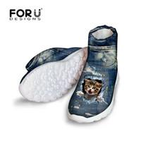 Wholesale Vintage Rubber Animals - Wholesale-FORUDESIGNS Vintage Denim Cute Pet Cat Printed Women Winter Boots 2016 Fashion Female Snow Ankle Boots Blue Jeans High Top Shoes