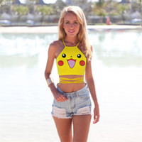 Wholesale Pikachu Bulbasaur Printing Strapless Tube Top Crop Top Hollow Bandage Cropped Feminino Straps Tight Ultrashort Bralette