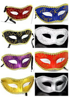 Wholesale wedding dresses colour - fashion Venetian Masquerade Party Wedding Decoration Party fancy dress party mask of coloured drawing or pattern, half a face mask