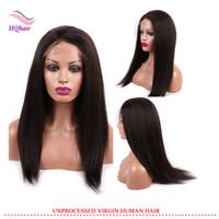 insan dantel peruk malezya toptan satış-Malezya İnsan Saç Ön Dantel Peruk Doğal Renk Kinky Düz Bakire Saç Tam Dantel Peruk Bebek Saç 120% Yoğunluk Ile
