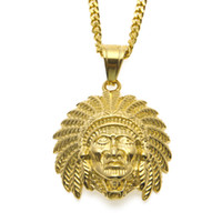 Wholesale Indian Head Charms - Hip Hop Indian Head Shaped Pendant Necklace Gold Plated Tutankhamun Charm Jewelry For Men Women With 24'' Cuban Chain