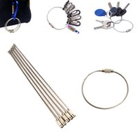 Wholesale Locking Wire Stainless Steel - 30Pcs EDC Stainless steel wire keychain ring key keyring circle rope cable loop outdoor camp luggage tag screw lock gadget