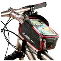 saco de pára-brisa venda por atacado-2017 À Prova de Chuva Frente Zíper Saco Da Bicicleta MTB Mountain Cycle Tela Sensível Ao Toque Sacos de Telefone À Prova D 'Água GPS Ciclismo Bolsa Panniers