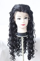 Wholesale Wholesale Baby Hair Lace Wigs - Real Picture Synthetic Lace Front Wigs for African American Black Women Medium part Baby hair Fashion Curly Hair