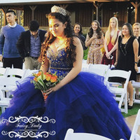 Cinderella Royal Blue Tulle Tiered Ball Gown Quinceanera Платья для девочек Sweet 16 Party Блестящие бусины Crystal Long Corset Back Prom Gowns