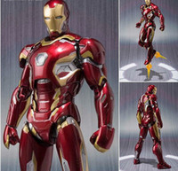 Wholesale Movable Dolls Christmas - NEW hot 16cm avengers Super hero Iron man MK43 movable action figure toys Christmas gift doll with box