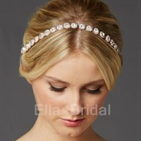 Wholesale Ella Wedding - Ella Bridal Gold Crystal Bridal Hairband Best Price High Quality Headbands A Glass Crystals and Ivory Ribbon Wedding Bridal Hair Accessory