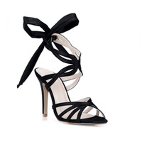 Black Real Sandals Shoes 2017 High Thin Heels Lace Summer Ladies Style Party Shoes Cheap Modest Plus Size Sandálias de sapatos