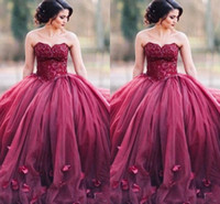Wholesale Ling Dresses - Dark Red Sweetheart Prom Dresses Sweetheart Sequins Beads A Ling Long Evening Dresses With Handmade Flowers Formal Dresses Evening Gowns