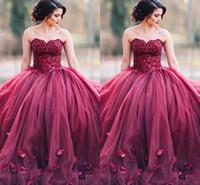 çiçekler el yapımı tatlım toptan satış-Koyu Kırmızı Sevgiliye Gelinlik Modelleri Sevgiliye Sequins Boncuk El Yapımı Çiçekler Ile Bir Ling Uzun Abiye Örgün Elbiseler Abiye giyim