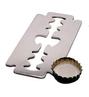 Wholesale Cheap Stainless Bottles - High quality Razor Blade Shaped Metal Beer Bottle Opener Stainless Steel Gift cheap custom steel cut out bottle openers