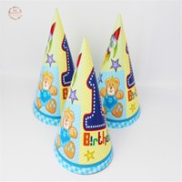 Wholesale Cap Teddy Bear - Wholesale-6Pcs lot Teddy Bear Theme Party Hat Cap With Strings Kids Favor Happy Birthday Party Decoration Baby Shower Party Supplies