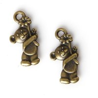 Wholesale Bear Charm Pendant Bronze - Wholesale- New 11pcs bag 19*10mm Antique Bronze Plated Zinc Alloy Metal Charms Bear Pendants For Jewelry Making Findings