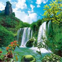 Wholesale waterfall decor resale online - New DIY D Mosaic Diamond Painting Cross Stitch kits mountain waterfall full Resin round Diamonds Embroidery needlework Home Decor yx0537