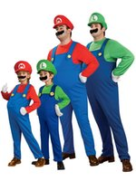 Wholesale Super Mario Overalls - Adults' Super Mario Uniform Suit Cosplay Theme Costume Plumbers Overalls Cap Moustache Party Halloween Clothing Free Shipping