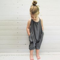 Wholesale Child Overalls - Girls Kids Onesies Rompers Jumpsuits Overalls for Children Baby Cotton Backless Rompers Jumpsuits One Piece Grey Suspender Overalls Clothes