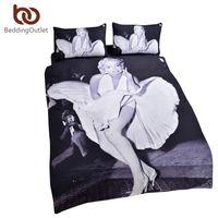 Wholesale Marilyn Monroe Bedding - Wholesale- BeddingOutlet New Arrival Marilyn Monroe Bedding Set Vivid 3D Print Home Textiles White And Black Classic Comforter Set
