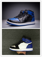 Wholesale Rhinestone Glitter Sneakers - Wholesale High Quality New Air Retro 1 OG Royal Blue Black Men Basketball Shoes retro 1 Fragment x sports trainers Sneakers size 7-13
