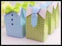 pajarita baby shower al por mayor-Al por mayor-20pcs Mi pequeño hombre azul verde pajarita Birthday Boy Baby Shower Favor Candy Treat Bag Favores de la boda caja de dulces bolsas de regalo
