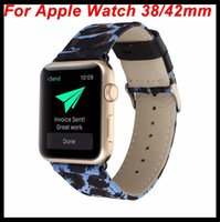 Wholesale Leopard Watches For Women - For iWatch Luxuxy Leopard Strap Women Watch Band for Apple Watch Genuine Leather+Cloth Sexy Painting Strap Wristwatch Bracelet