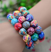 Wholesale Wholesale Polymer Beads - New 12mm Polymer clay round bead 30pcs Fashion Polymer clay bracelets Bohemian beaded bracelets, Kid's gift women jewelry C081