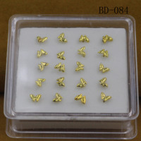 Wholesale Butterfly Nose Stud - 20PCS Trendy Accessories Plated Gold Butterfly Nose Studs Nose Ring For Women Copper Stud Woman Man Favorite Fashion Body Jewelry
