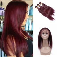 düz kırmızı saç uzantıları toptan satış-Şarap Kırmızı 99J Ipeksi Düz Saç Demetleri Ile Dantel Frontal 4 Adet / grup Ön Koparıp 360 Dantel Band Frontal Ile Ombre İnsan Saç uzatma
