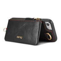 bolsa 2en1 al por mayor-BRG Funda de cuero genuino de cuero de vaca para iphone 7 plus 6 6 s plus 2in1 cremallera extraíble pequeña cartera bolso + teléfono contraportada