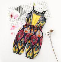 Wholesale Capri Jumpsuits - 2017 New Summer Baby Girls Vintage Colorful Jumpsuits Kids Girl Suspenders Capri Pants Children Overalls Jumpsuit 3045