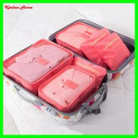 Wholesale Double Bra - 9 Colos 6Pcs Set Fashion Double Zipper Waterproof Travelling Bags Nylon Luggage Packing Cube Bag Underware Bra Storage Bag Organizer
