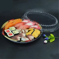 Wholesale packing dishes online - 20cm cm cm Large Disc Assorted Cold Dishes Disposable Round Sushi Takeout Packing Box ZA5320