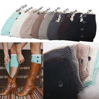 Wholesale Wholesale Hollow Knee Boots - Wholesale- winter woman boot cuffs socks knitting wool warm short leg warmers Knee set Button hollow out leg warmers