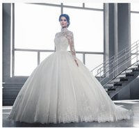 Wholesale Dhl Bridal Gowns - DHL shipping High Neck See Through Back Long Sleeve Wedding Dresses Lace Ball Gown Bridal Gowns robe de mariage Vestido De Noiva