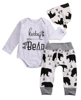 Wholesale Toddlers Animal Hats - baby little boy clothes toddler romper set bear printed infant white outfit suit next clothing long sleeve harem pants hats famous brand