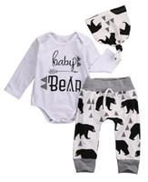 erkek beyaz harem pantolon toptan satış-Bebek küçük çocuk giysileri toddler romper set ayı baskılı bebek beyaz kıyafet suit giyim uzun kollu harem pantolon şapka ünlü marka