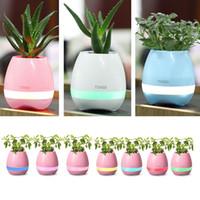 pot de fleurs éclairé achat en gros de-CRESTECH Bluetooth LED Veilleuse Smart Flowerpots Bluetooth Haut-Parleur Musique Lecture Sans Fil Flowerpot Veilleuses Coloré Led Lumière